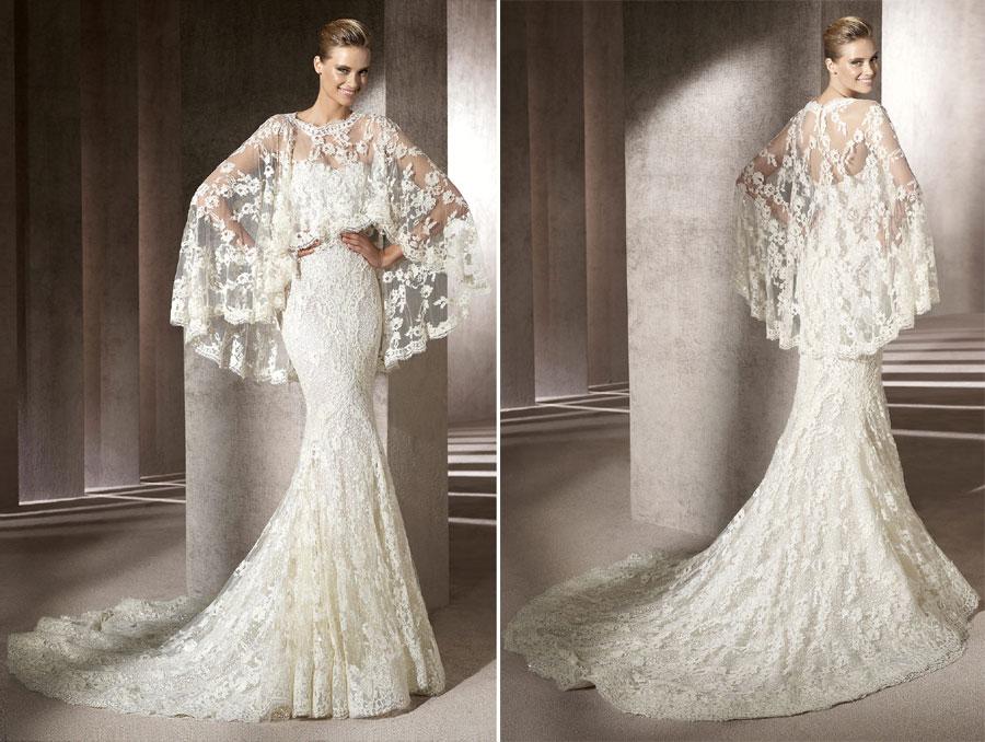 Ovias Manuel Mota Erika Full Lace Ed Wedding Dress With Poncho Front Back