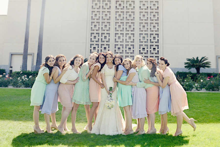 Sherbet Hued & Singing In The Rain Decor At This LDS Temple Wedding Los Angeles | Photograph by AlliChelle Photography