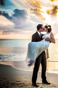 Tropical Destination Beach Wedding At Sandals Grande Antigua Resort Complete With Postcard Sunset | Photograph by Bartlett Pair Photography