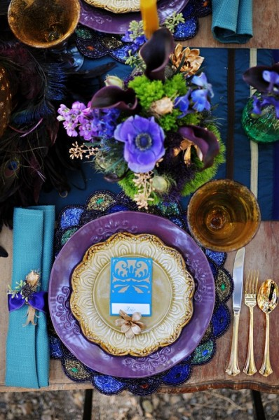 Fresh Fall Wedding Colors In Purple, Turquoise and Gold Brienne Michelle Photography via Boho Weddings