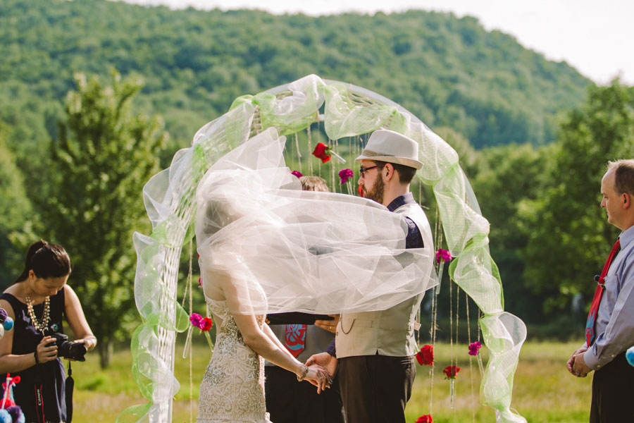 Eclectic Griffis Sculpture Park Picniclike Offbeat Wedding Among The Art In Red, Purple & Light Blue   Photograph by Carolyn Scott Photography