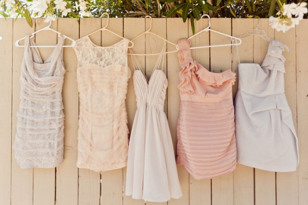 Mix Matched Neutral Tone Short Bridesmaid Dresses Jason and Anna Photography
