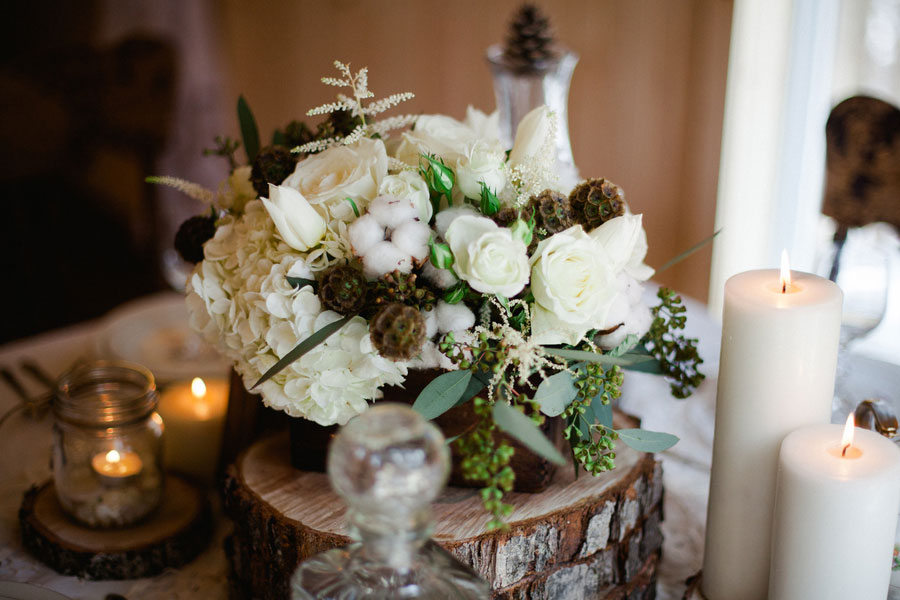 Rustic Fall Cabin Wedding With An Earthy Feel & Vintage Decor | Photograph by Sophie Asselin Photographe  https://www.storyboardwedding.com/late-fall-rustic-cabin-wedding-earthy-feel-and-vintage-decor/