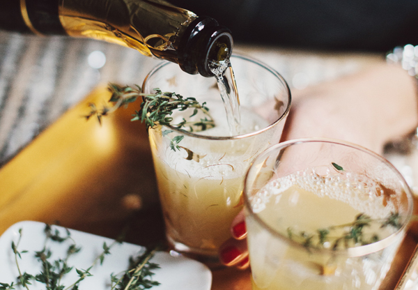 Specialty Cocktails: Pear Nectar & Thyme Mimosa Via The Glitter Guide