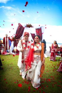 Dual Faith Buddhist Hindu Wedding In Bold Red & Bright Metallics A...
