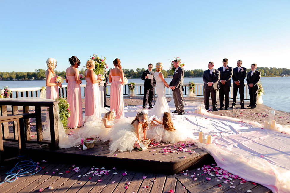 Romantic Lake Side Sunset Wedding In Pink & Gold With Vintage Touches Of Lace, Bottles, Watches & More | Photograph by Photography by Gema  http://www.storyboardwedding.com/romantic-lake-side-sunset-wedding-pink-gold-vintage-touches/