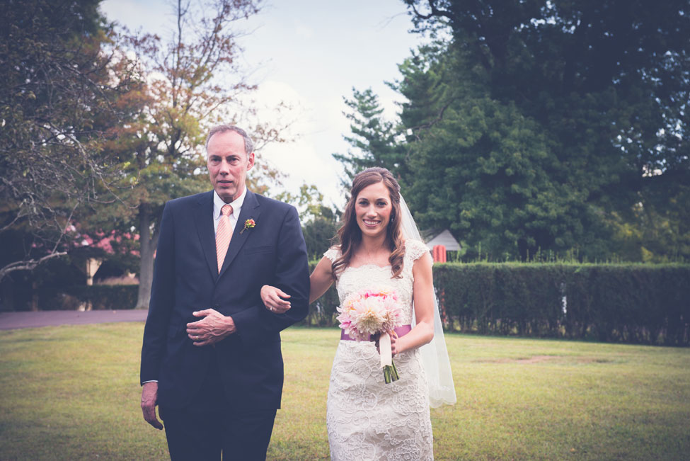 Dahlia Filled Audubon Center at Mill Grove Pennsylvania Wedding With Animal Surprises In Purple & Peach | Photograph by BG Productions  https://www.storyboardwedding.com/dahlia-audubon-center-mill-grove-pennsylvania-wedding/