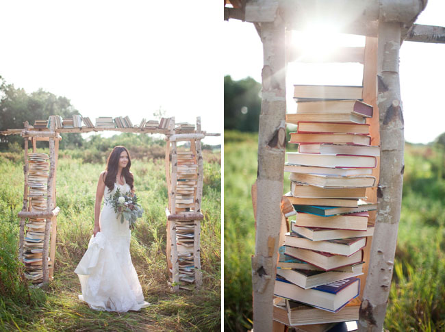 Whimsical Birchwood Ceremony Arbor Filled With Vintage Books Styled by She Walks in Beauty via GWS | Photograph by White Photographie  http://www.storyboardwedding.com/why-it-works-wednesday-whimsical-birchwood-ceremony-arbor-vintage-books/