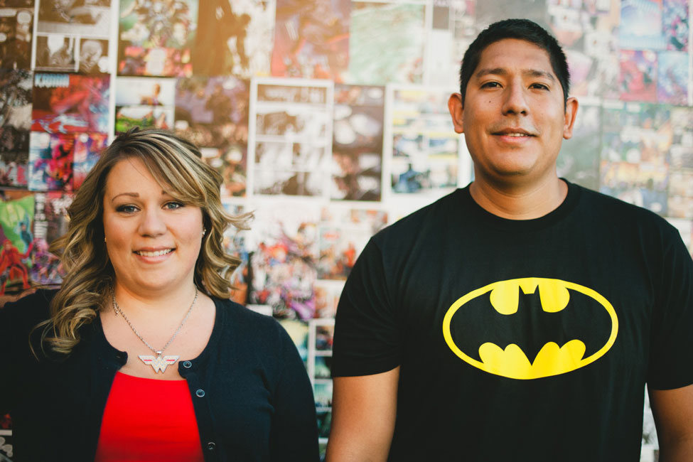 Comic Books, Super Heroes, & Star Wars Oh My! Playful Comic Book Themed Engagement Session   Photograph by Shaina Sheaff Photography   https://storyboardwedding.com/comic-book-themed-engagement-session-super-heroes-star-wars/