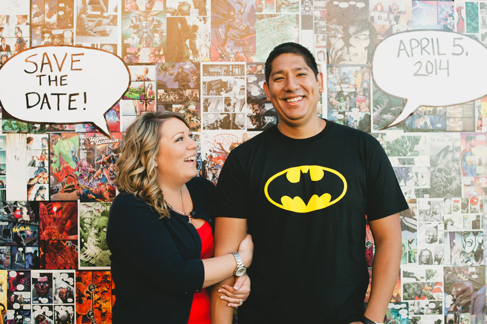 Comic Books, Super Heroes, & Star Wars Oh My! Playful Comic Book Themed Engagement Session | Photograph by Shaina Sheaff Photography   http://storyboardwedding.com/comic-book-themed-engagement-session-super-heroes-star-wars/