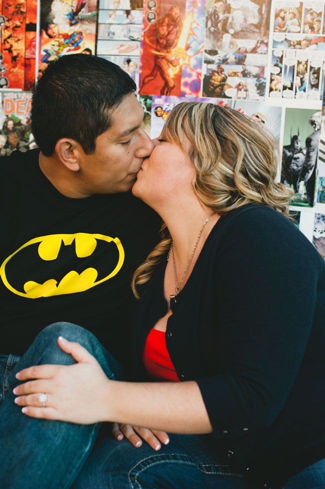 Comic Books, Super Heroes, & Star Wars Oh My! Playful Comic Book Themed Engagement Session | Photograph by Shaina Sheaff Photography   https://storyboardwedding.com/comic-book-themed-engagement-session-super-heroes-star-wars/