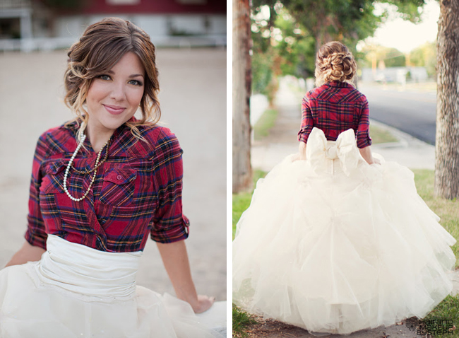 0894d79eb4a1 Why It Works Wednesday: The Plaid Bride We All Have A Crush On · Plaid  Winter Bride In Flannel, Full Tulle Skirt With Back Bow & Loosely Textured  Braid