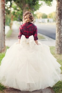 Plaid Winter Bride In Flannel, Full Tulle Skirt With Back Bow & Loosely Textured Braid Do | Photograph by Ciara Richardson