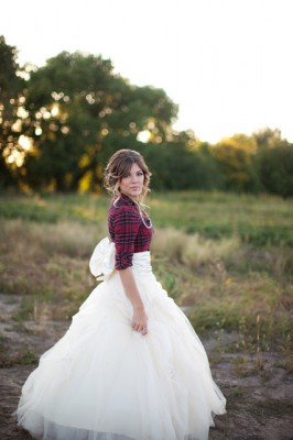 8ec2715602fb Plaid Winter Bride In Flannel, Full Tulle Skirt With Back Bow & Loosely  Textured Braid