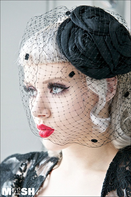 Black Veil With Black Dotting