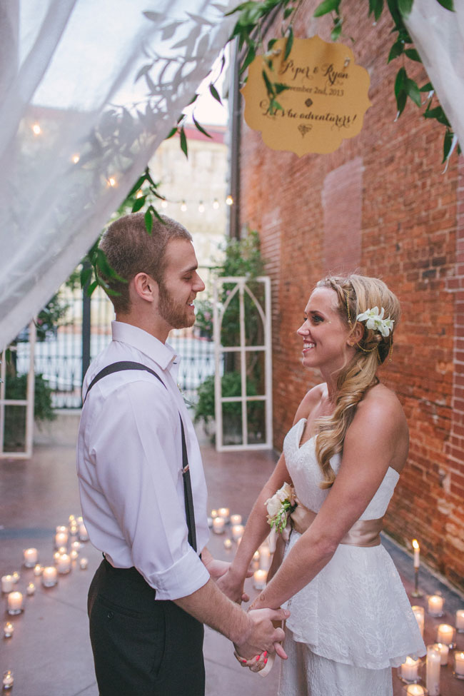 Bohemian Sunrise Wedding In Neutral Colors Featuring Suspended Crepe Cakes, Pillow Seating, Rickshaws & So Much More | Photography by A Darling Day  https://storyboardwedding.com/bohemian-sunrise-wedding-neutral-palette-crepe-cake-rickshaw/