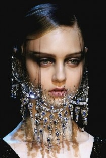 Couture Black Veil With Crystal Stud Details