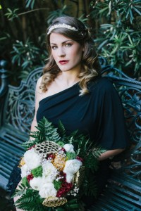 The Chic Offbeat Bride In Tones Of Black, Ivory, Gold & Burgundy