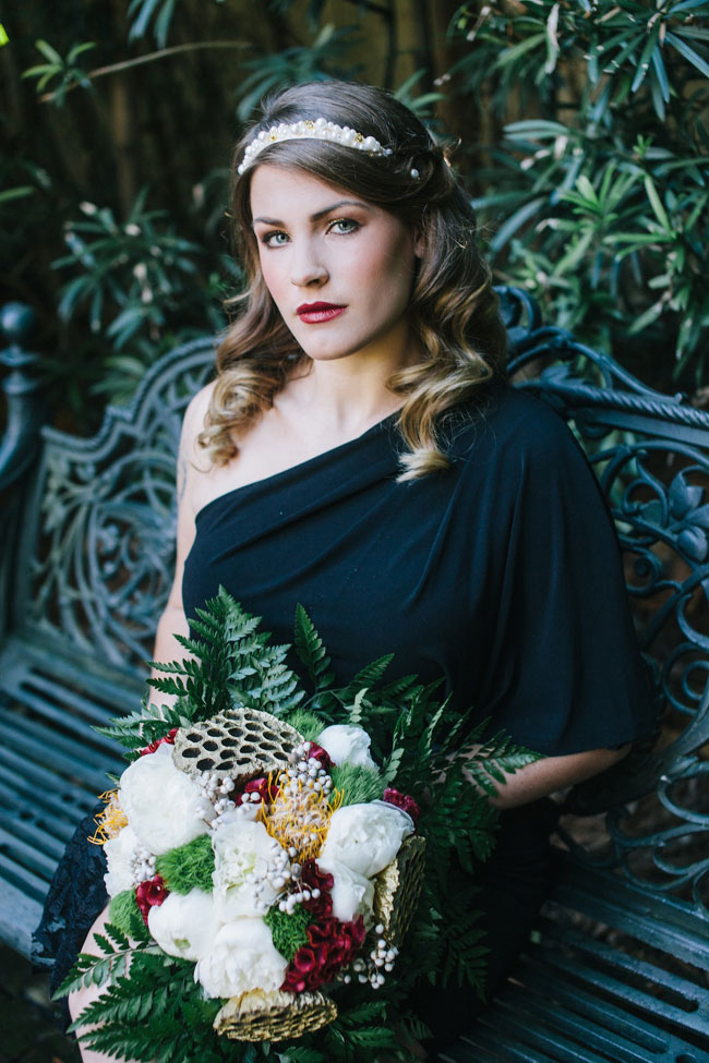 Chic Offbeat Bride In Tones Of Black, Ivory, Gold & Burgundy | Photograph by Mackensey Alexander Photography  http://storyboardwedding.com/chic-offbeat-bride-black-ivory-gold-burgundy/