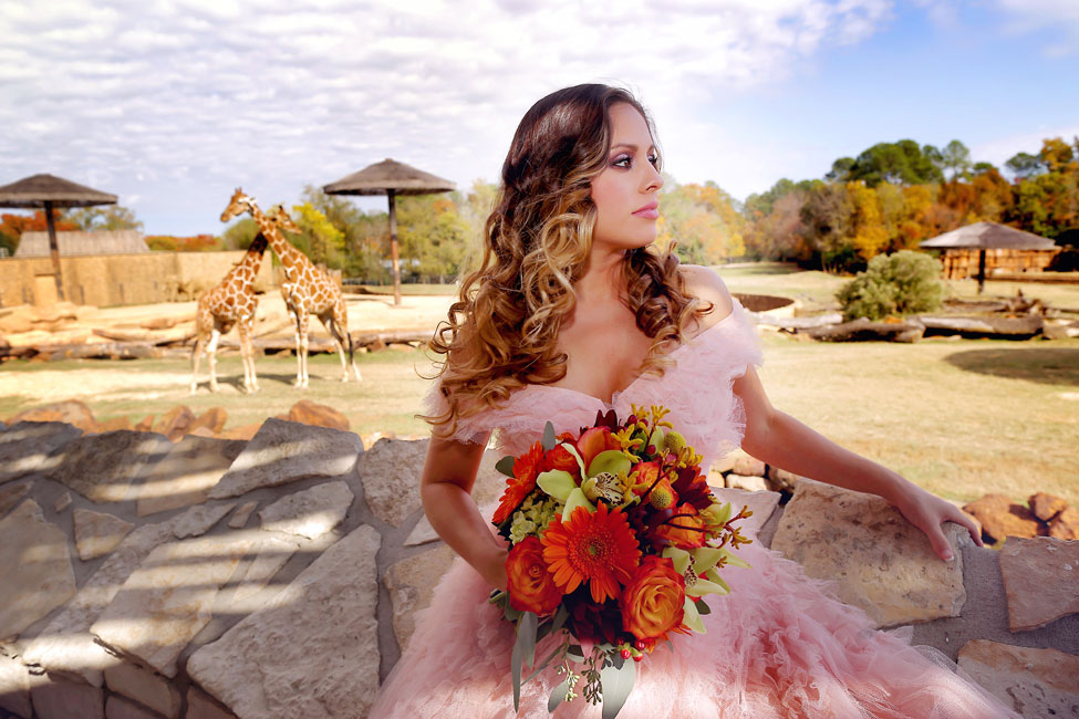 Modern Vintage Bridal Portrait Session At The Caldwell Zoo With Romantic Safari Influences | Photograph by Photography by Gema  https://storyboardwedding.com/modern-vintage-bridal-portraits-caldwell-zoo-romantic-safari/