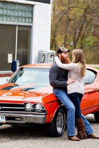 Muscle Cars & Vintage Gas Stations In This Brawny Engagement S...