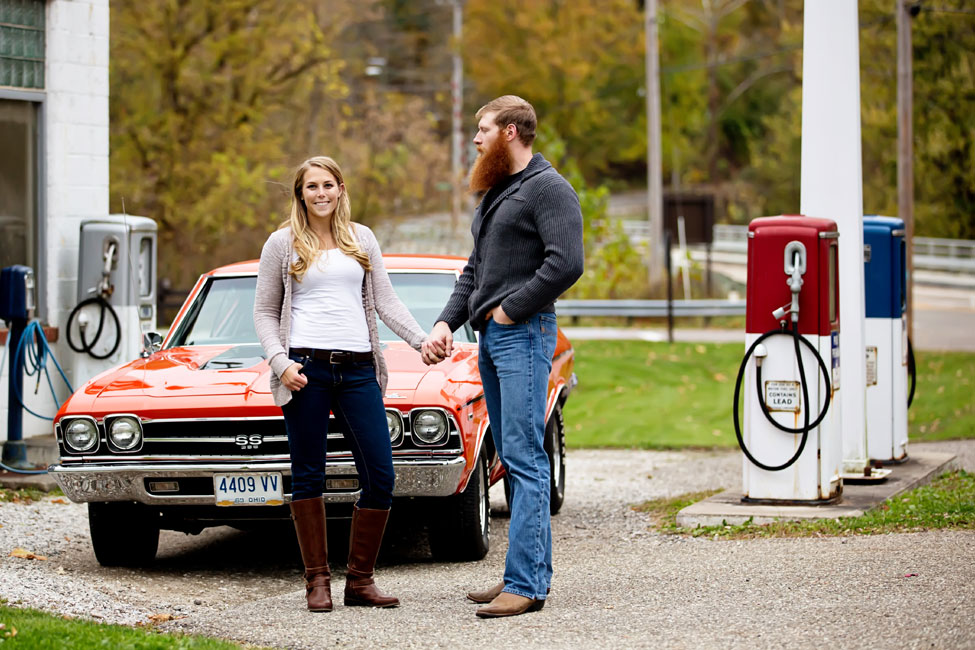 Muscle Cars & Vintage Gas Stations In This Brawny Engagement Session | Photograph by JaNikki   http://storyboardwedding.com/muscle-cars-vintage-gas-stations-brawny-engagement-session/