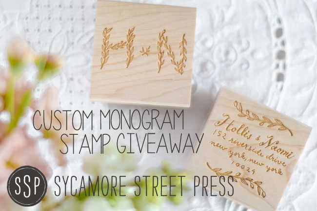 Sycamore Street Press Custom Monograpm Stamp Giveaway w