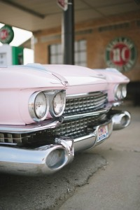 Pink Cadillac Engagement Session With Edgy Retro Flair From Old Gas St...