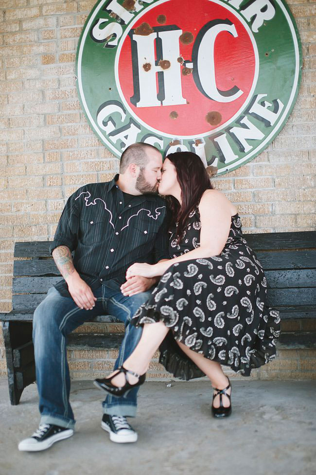 Pink Cadillac Engagement Session With Edgy Retro Flair From Old Gas Stations To Classic Car Graveyards | Photograph by Tracy Enoch Photography  http://storyboardwedding.com/vintage-retro-pink-cadillac-engagement-session/