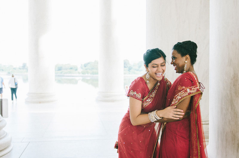 Inter-Faith Wedding In Vibrant Red & Glittering Gold On The Lawn Of The Jefferson Memorial |  Photograph by Fogarty Photography  https://storyboardwedding.com/inter-faith-wedding-red-gold-jefferson-memorial/