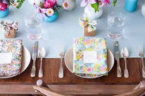 Wood Table Setting With Floral Accents via Thuss + Farrell HM