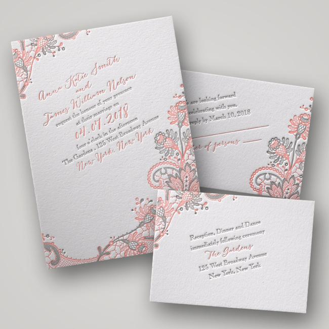 Invitations by Dawn Love and Lace Letterpress Wedding Invitations