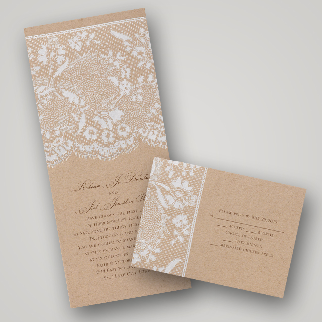 Invitations by Dawn Naturally Romantic Vintage Lace Wedding Invitations