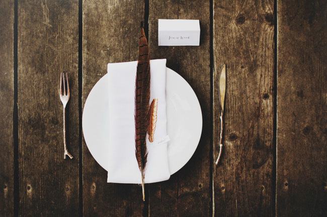 Natural Place Setting Raw Wood Feathers Twig Silverware Nick Radford via Green Wedding Shoes