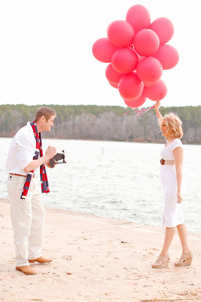 Red Balloon Valentines Day Love Session Along The Banks Of Tyler State Park | Photograph by Photography by Gema  https://storyboardwedding.com/red-balloon-valentines-day-engagement-session-tyler-state-park/
