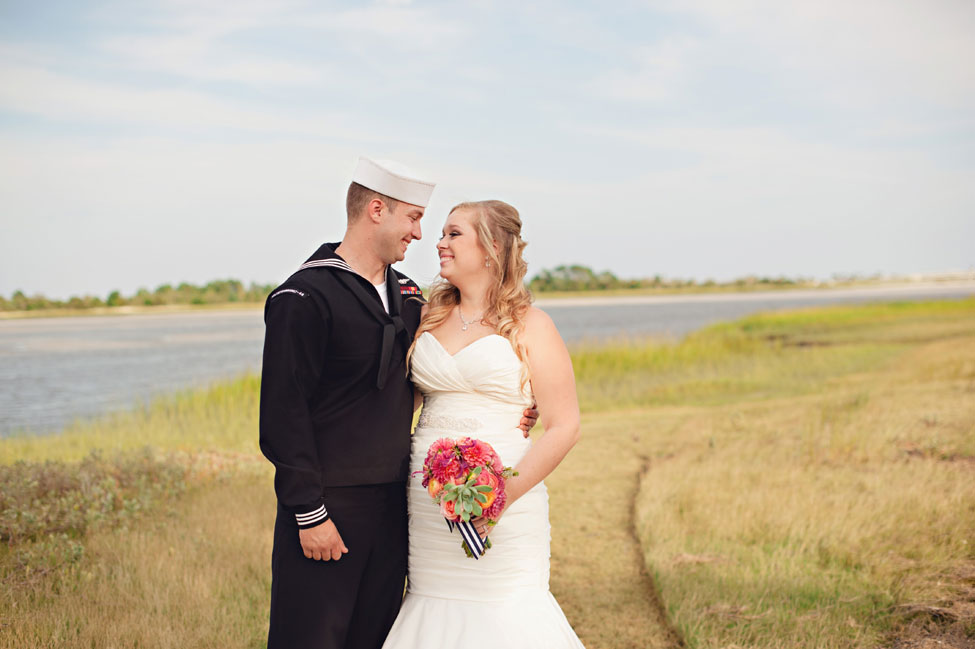 Coral & Navy Vintage Inspired Nautical Wedding At The Ribault Club Jacksonville Florida | Photograph by Britney Kay Photography   https://storyboardwedding.com/vintage-nautical-wedding-ribault-club-jacksonville-florida