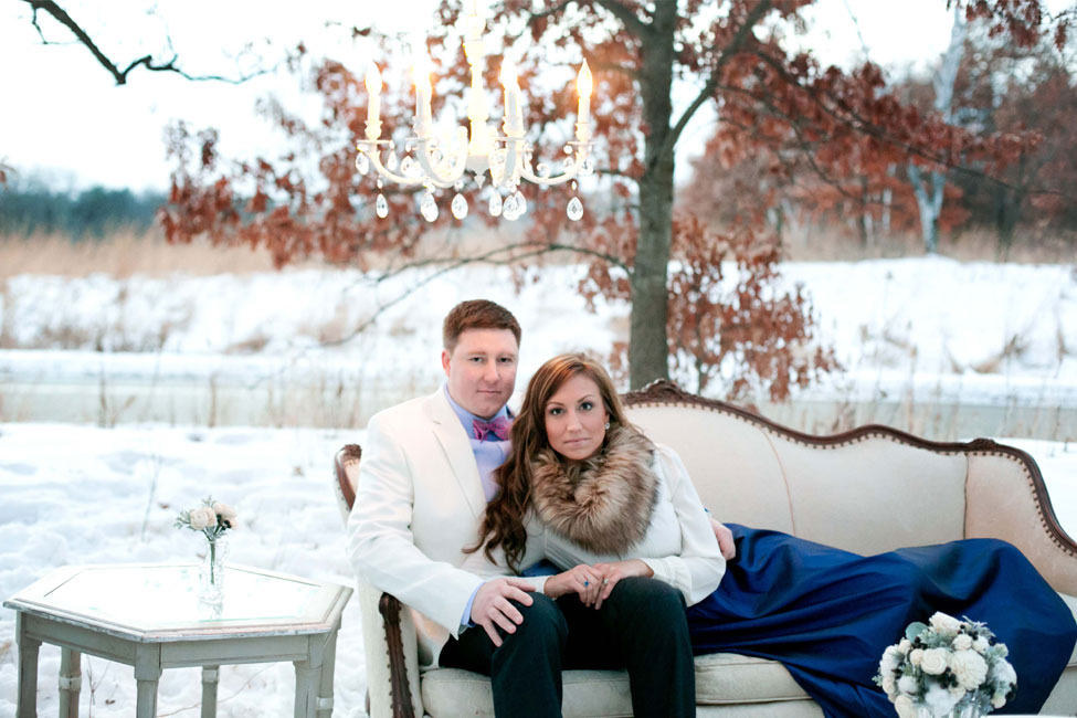 Chic Minnesota Winter Romance Engagement Session Featuring A Hot Chocolate Station | Photograph by Nicole Spangler Photography  https://storyboardwedding.com/chic-minnesota-winter-romance-engagement-session/