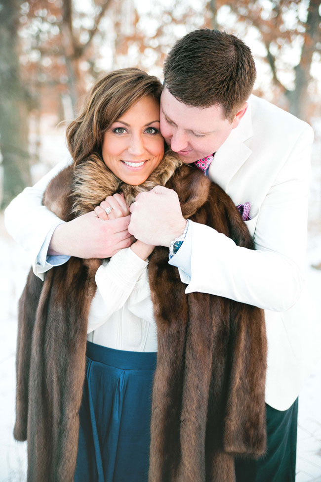 Chic Minnesota Winter Romance Engagement Session Featuring A Hot Chocolate Station | Photograph by Nicole Spangler Photography  http://storyboardwedding.com/chic-minnesota-winter-romance-engagement-session/