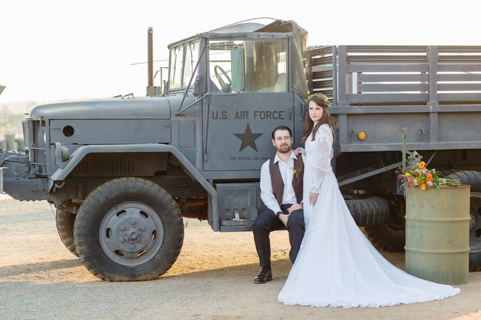 1970s Vietnam War Era Inspired US Air Force Wedding | Photograph by Jennifer Corbin Photography