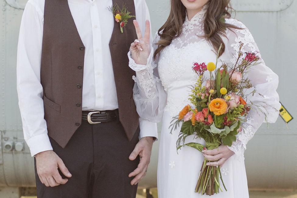 1970s Vietnam War Era Inspired US Air Force Wedding | Photograph by Jennifer Corbin Photography  https://storyboardwedding.com/1970s-vietnam-war-era-inspired-us-air-force-wedding/