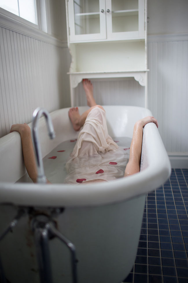 Hauntingly Sweet Bathtub Boudoir In The Country | Photograph by Haizel Creations Photography  https://storyboardwedding.com/hauntingly-sweet-bathtub-boudoir/
