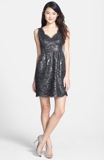 Black Metallic Lace Bridesmaid Dress