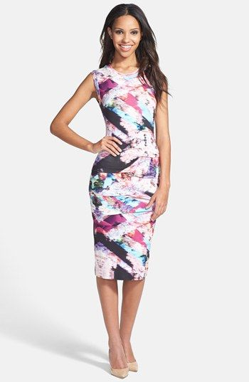 Brush Stroke Bold Print Bridesmaid Dress