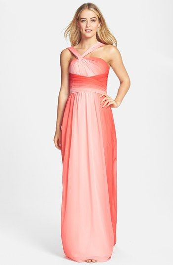 Coral Ombre Monique Lhuillier Bridesmaid Dress