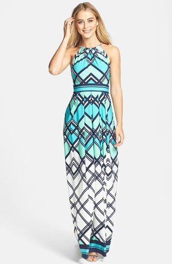 Geometeric Print Bridesmaid Dress
