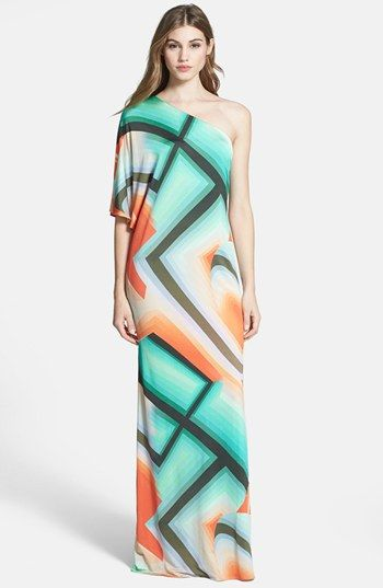 Graphic Print One Shoulder Bridesmaid Dress
