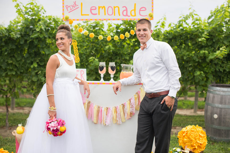 Pink Lemonade Inspired Vineyard Wedding Featuring A Sweet Little Lemonade Stand | Photograph by Kaitlin Noel Photography  https://storyboardwedding.com/pink-lemonade-inspired-vineyard-wedding/