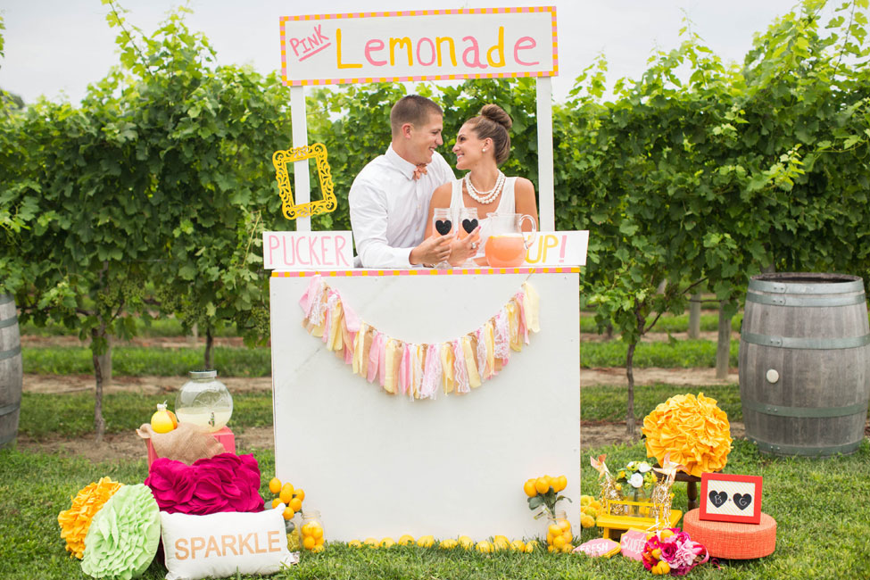 Pink Lemonade Inspired Vineyard Wedding Featuring A Sweet Little Lemonade Stand | Photograph by Kaitlin Noel Photography  http://storyboardwedding.com/pink-lemonade-inspired-vineyard-wedding/