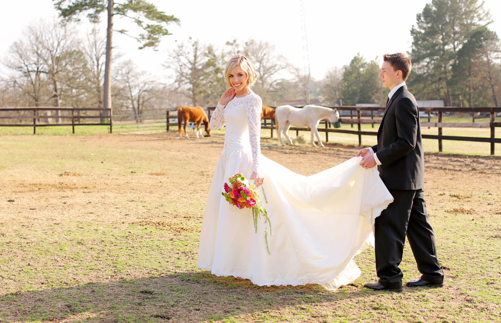 Long Sleeve Vintage Wedding Dress Centaur Arabian Farms Texas