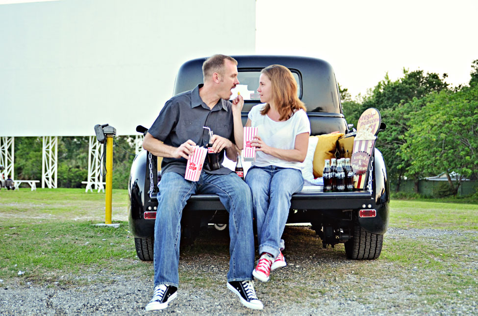Silvermoon Drive In Movie Engagement Session In Lakeland Florida | Photograph by Captured By Belinda  http://storyboardwedding.com/silvermoon-drive-in-movie-engagement-session-in-lakeland-florida/